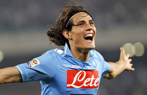 Napoli's Cavani celebrates after scoring a goal against AC Milan during their Italian Serie A soccer match in Naples